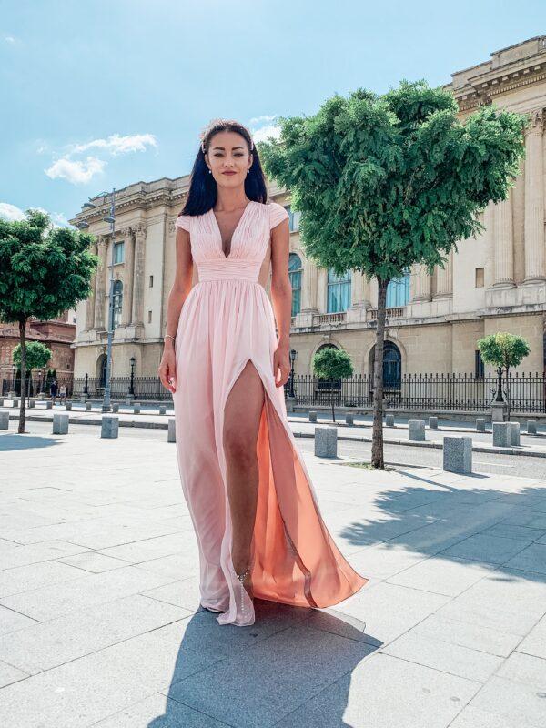 Soft pink veil dress